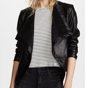 BB Dakota Faux Leather Drapey Jacket, Size M